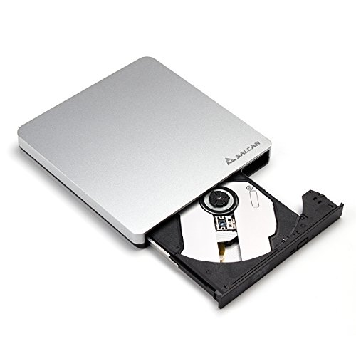 Salcar - USB 3.0 3D Blu-ray Burner Externe Slim Super Multi BD DVD SuperDrive DVD CD Laufwerk Blueray Read & Write Brenner für Apple iMac Macbook (Pro) & Universal PCs Notebooks (Acer Asus Dell HP IBM Lenovo Samsung Sony Toshiba) - Aluminum Silber
