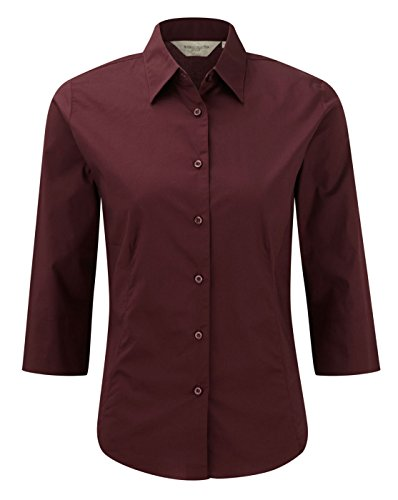 Russell Damen 3/4 Sleeve Easy Care Spannbettlaken Shirt Bluse Gr. Medium, Port - Revere Kragen