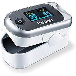 Beurer PO 40 Oxymètre de pouls, détermination de la saturation en oxygène dans le sang, de la fréquence cardiaque et de l'indice de perfusion