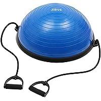 Allros Ball Balance Entrenador de Equilibrio de Media Bola con Bandas de Resistencia Desmontables y Bomba de pie 58 cm (Azul)