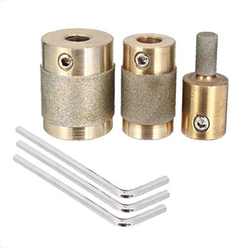 DomilayCabezal Triturador de 3 Piezas 1 Pulgada 3/4 Pulgada 1/4 Pulgada NúCleo de LatóN Arandela EstáNdar Cabeza de Broca de Vidrio Esmerilado para Piedra de Vidrio