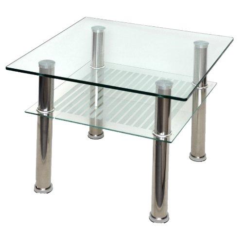 ts-ideen Table en verre table basse table d'angle 60 x 60 cm douces en acier inoxydable et verre de sécurité ESG 10 mm