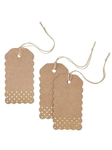 Kraftpapier Geschenkanhänger mit goldenen Punkten