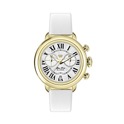 Glam Rock Women's Bal Harbour 40mm White Satin Band Gold Plated Case Swiss Quartz Analog Watch GR77137W