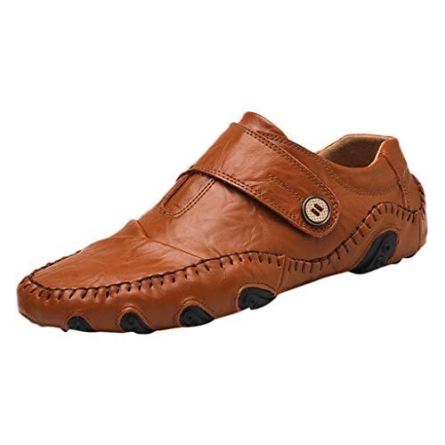 Skxinn Herren Loafers Business Schuhe Kunstlederschuhe/Schuhe mit Klettverschluss,Boot Breathable Laufen Walking Office Casual Täglichen Outdoor Trainer Gr 38-46(Braun,39 EU)