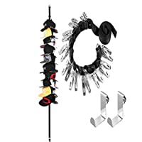 Vosarea Over The Door Hook with String 10 Pcs Clip Adjustable Nail-free Hat Cloth Key Hanger Storage Rack for Home Bathroom Office Kitchen Towel (Black)
