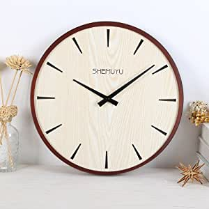 Home Mute Wall Clock Living Room Minimalist Modern Decor In Table Wooden Digital Clock Round 14