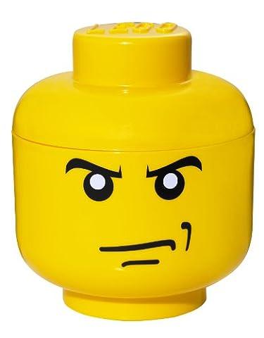 LEGO Tête de rangement petit, Angry Face Jaune