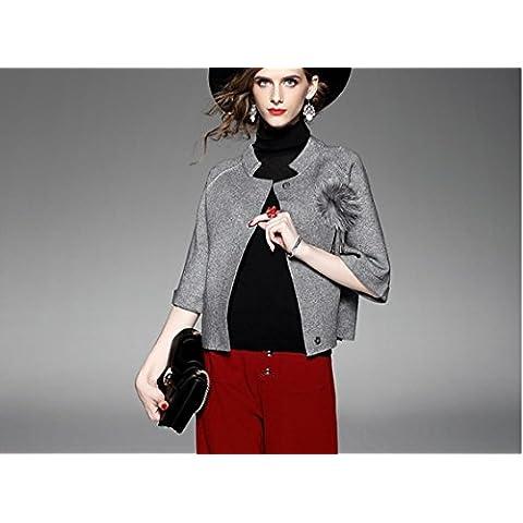 ZH AH bate de raglán de la manga corta chaqueta informal suéter de cuello redondo del otoño de las mujeres ,