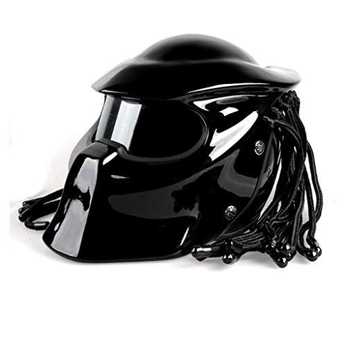 Predator Helm HAT, Kohlefaser-Motorradhelm, DOT Four Seasons Universal Shaped Warrior Maskiert Die Coolste Vollgesichts-Eisen-Warrior-Helm-Antibeschlag-Linse Für Männer Und Frauen,Brightblack