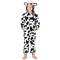 Girls Hooded Onesie Fleece All in One Kids Printed Jump Sleep Suit Nightwear Cosy Pyjamas (13 Years, Cow)