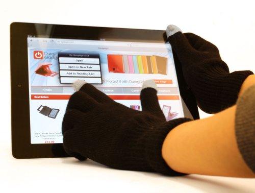 DURAGADGET Comfy Black Touchscreen Gloves (Large) For Apple iPad / iPad 2, 3, 4 / iPad Mini, Mini 2, Mini 3, Mini 4 / iPad Air, Air 2, Maxi / iPad Pro 9.7, Pro 12.9 / Apple MacBook Pro