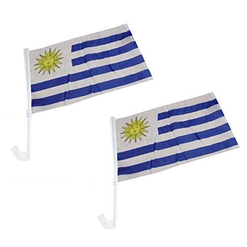 Sonia Originelli 2er Set Auto Flagge Fahne WM Länder Fußball Fan Farbe Uruguay - Uruguay Wm