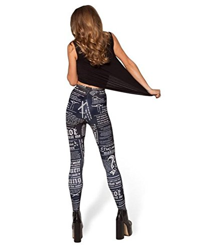 Bestland Damen Legging Tattoo Leggins Sterne Print Style Comic Elastische Stretch Strumpfhose Hüfthose Skinny Hose Enge #5