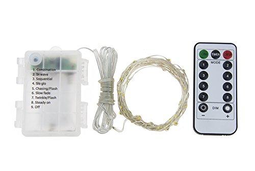 GHJ 50/100/200 LED batteriebetriebene Fernbedienung, wasserfest, silberner Draht, Lichterkette für Innen- und Außenbereich, für Weihnachtsbaum, Weihnachten, Gartenpartys, multi, 200 LEDs