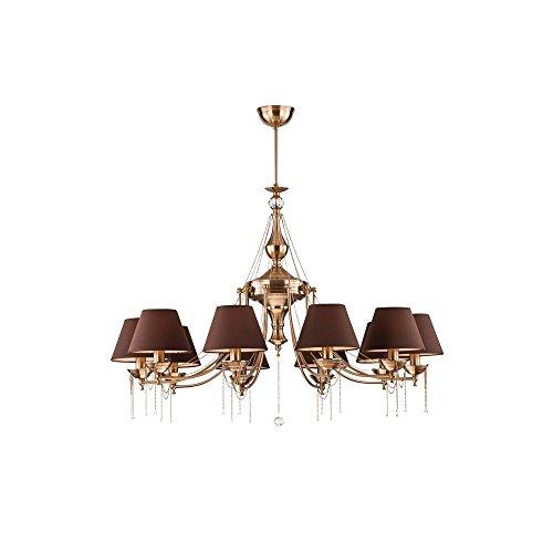 Klassicher und stilvoller Kronleuchter, Messing Metall Farbe, verziert mit Ketten, klarer Kristall,...
