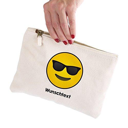 Herz & Heim® Kulturbeutel mit Sonnenbrillen-Smiley und ihrem Wunschtext