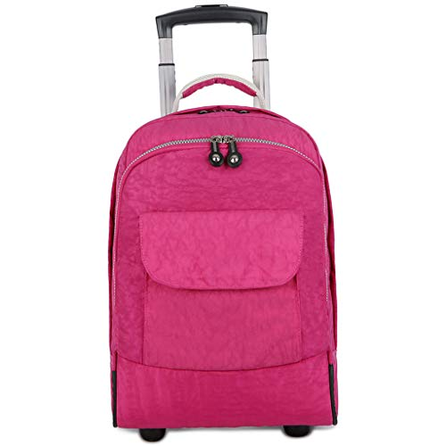 XHHWZB Trolley Schultaschen Rucksack für Jungen mit 2 Rädern Klettern Treppen (Farbe : Rose)