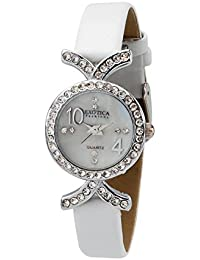 Exotica Fashions Ladies watch with water resistance PNP case with Diamond Studed and White Dial and White Leather band