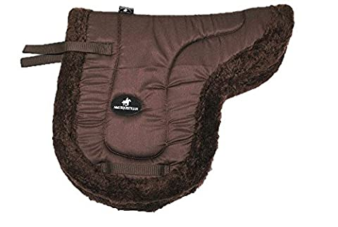FAUX FULL SHEEPSKIN FLEECE LINED SOFT QUILTED NUMNAH SADDLE PAD CLOTH PONY HORSE (Brown, Cob)