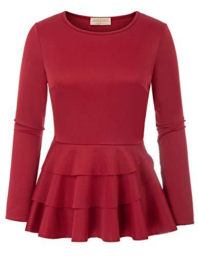 Langarm Solide Rundhalsausschnitt Ruffle Formales Hemd für Party Red 942 Small (Formale Schößchen Bluse)