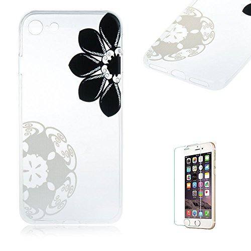 """Für iPhone 7 4.7"""" [Scratch-Resistant] Weichem Handytasche Weich Flexibel Silikon Hülle,Für iPhone 7 4.7"""" TPU Hülle Back Cover Schutzhülle Silikon Crystal Kirstall Durchschauen Clear Case,Funyye Ultra  Schwarze Blume"""