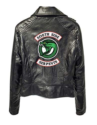 Riverdale Veste en Cuir Serpent Femme Cuir Vernis Pull Chic Pas Cher Ado Fille Gilet Court Blouson Manteaux Sweat-Shirt (Noir 1, S)