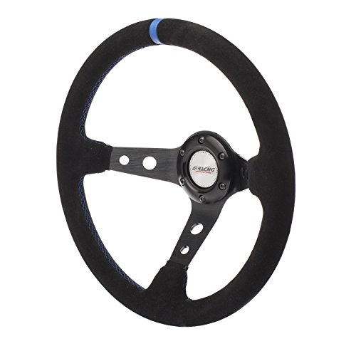 Simoni Racing SKDOWN Sport Steering Wheel Shakedown, Schwarz, Light Blau Seams