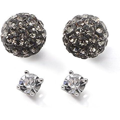 In argento Sterling 925, 8,5 mm-Orecchini a perno con perline & mm 3-Orecchini a lobo con zirconia cubica