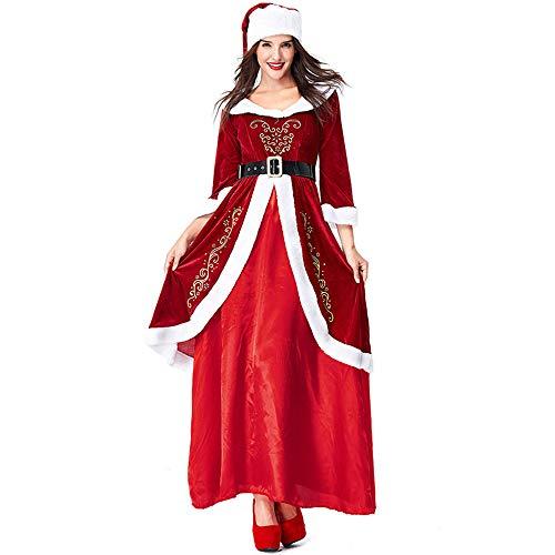 Zhangcaiyun Weihnachtsmann Frauen Vintage Weihnachten rot Sexy Kostüm Outfits Adult Cosplay Kostüm mit Hut für Weihnachten unter dem Motto Party Party (Größe : L)