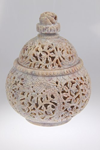 India Bazaar OFF WHITE 18cm (2234-B) Natural Soap Stone Carved Handicraft MATKI...