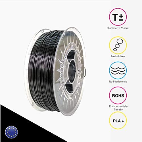 EOLAS Filamento impresión 3D 100{3457b3349750aa44c647dcb957e2a5a42e88c15486b79ba883c0fd17686d254e} PLA+, Made in Spain, Food safe, Toys safe Certified (1,75mm / 250g, NEGRO)