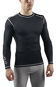 Sub Sports Dual Men's Compression Baselayer Long-Sleeved Top - Black, Small