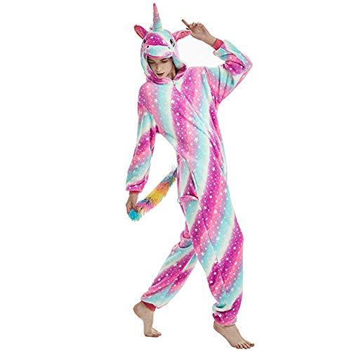 Sweetheart -LMM Einhorn Kigurumi Fleece Kapuzen-Pyjama Tier Cosplay Kostüm Unisex Erwachsene Männer Frauen Einteiler Loungewear Übergröße, XL(Fits Height 178-195cm) (Tragen Halloween-kostüme Pjs)