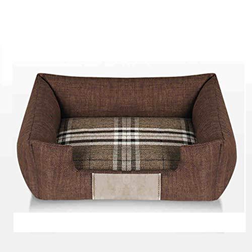 Haustier-Kisten-Bett-Haustier-Bett-Maschinen-waschbare vier Jahreszeiten verfügbares rechteckiges breathable (M72 * 52CM) 3 Farben vorhanden (Farbe : Brown)
