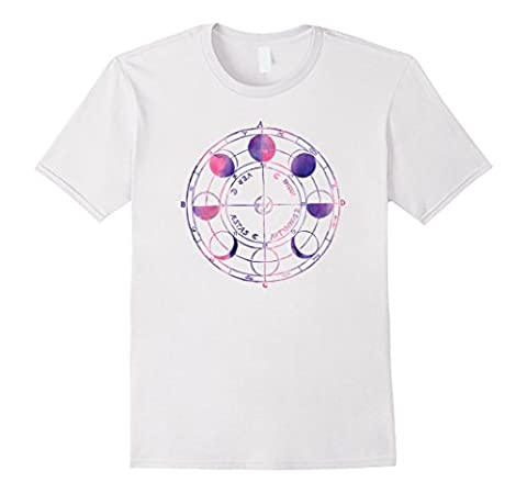 Vintage Moon Phase Lunar Cycle Cute Pink Watercolor T Shirt Male Medium White