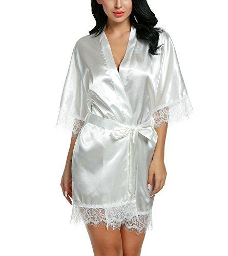 Avidlove Damen Morgenmantel Kimono Satin Kurz Robe Bademantel Nachtwäsche Sleepwear V Ausschnitt mit Gürtel, S, A Weiß