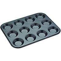 Master Class Teglia con 12 stampi per cucinare in forno, fondo antiaderente, sistema di areazione per prodotti croccanti, colore: grigio
