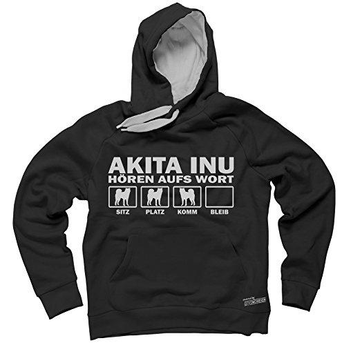 AKITA INU Japan japanischer - HÖREN AUFS WORT Unisex Hoodie Kapuzensweatshirt Pullover Fun Siviwonder black XXL (Akita Herren Hoodie)
