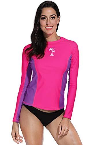 BesserBay Damen Bademode Rash Guard UV Shirts Langarm Slim-Fit Surf Shirt Schwimmen Tankini Badeshirts UPF 50+, 42, Rosa