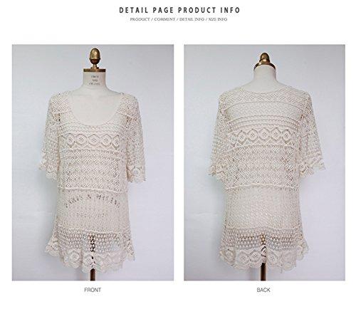 Damen Boho Weben Einzigartig Bikini Cover Up Sommerkleid StrandKleid Lang - One Size Beige
