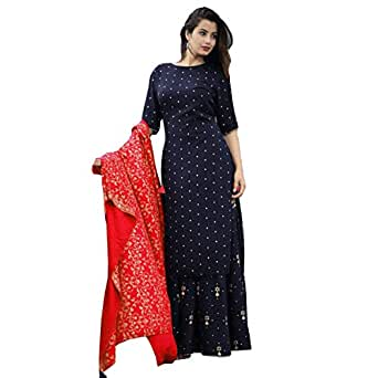 Women's Red color Rayon Kurti With Palazzo Pant And Full Golden Print Work Red Dupatta Set Women & Girls.