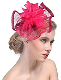 FORLADY Copricapo in maglia a forma di cappello a rete a maglia di piume a  maglia db845d14c57e