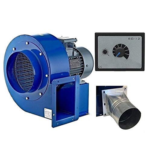Industrie Radial Gebläse OB200M mit 500 Watt Drehzahlregler und 4 eck-rund Flansch, Zentrifugal Saugventilator, Radialgebläse -
