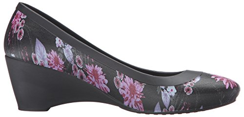 Crocs Lina Wedge, Ballerines femme Noir (Black/Plum)