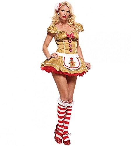 shoperama Sexy Weihnachts-Kostüm LEBKUCHEN-MÄNNCHEN, Größe:S