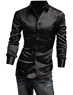 Uomo Camicie Maniche Lunghe Moda Men Shirts Slim Fit Casual Long Sleves Nero S