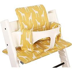Coussin Chaise Haute pour Stokke Tripp Trapp - Jaune avec des girafes - Facile à nettoyer ♥