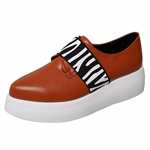 QIYUN.Z Zebra Femmes Rayees Plateforme Talon Glisser Sur Mocassin Chaussures Simples Chaussures Casual Zebre Brun