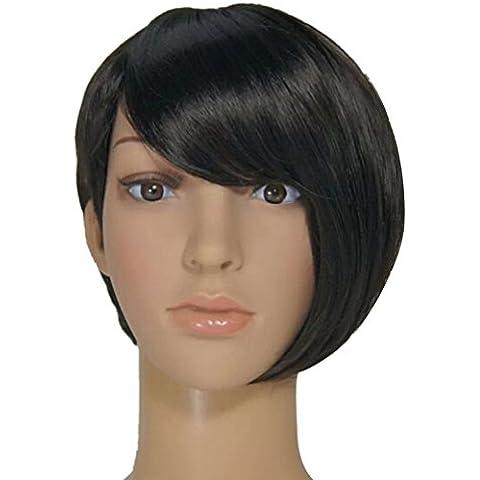 Aivtalk Moda Peluca de Cabello Sintético Corto Pelo Postizo Liso Negro con Flequillo para Mujer Chica + Redecilla + Peine
